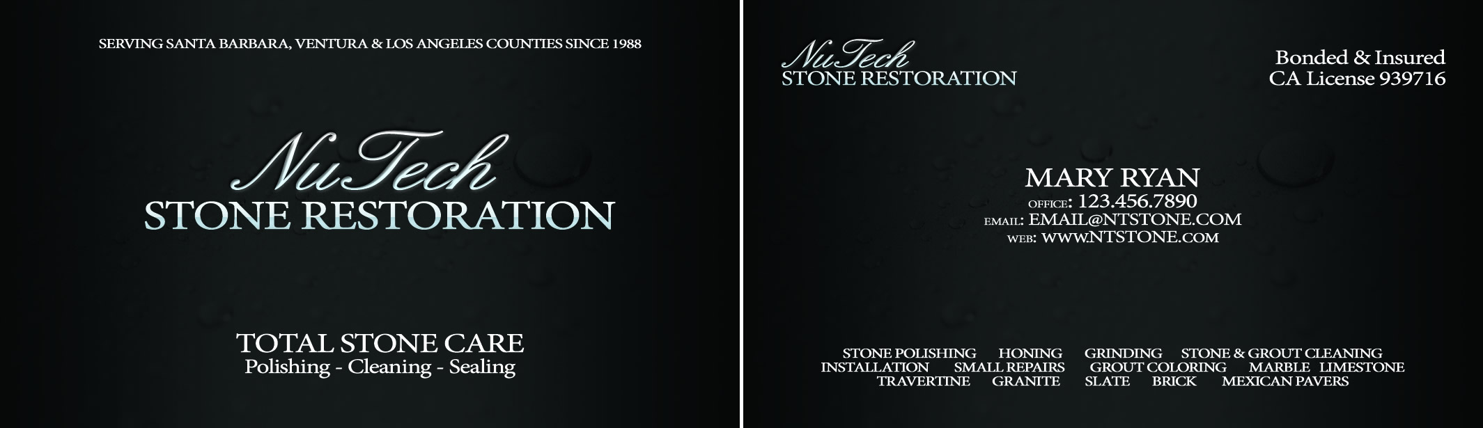 NuTech Stone Business Card Design