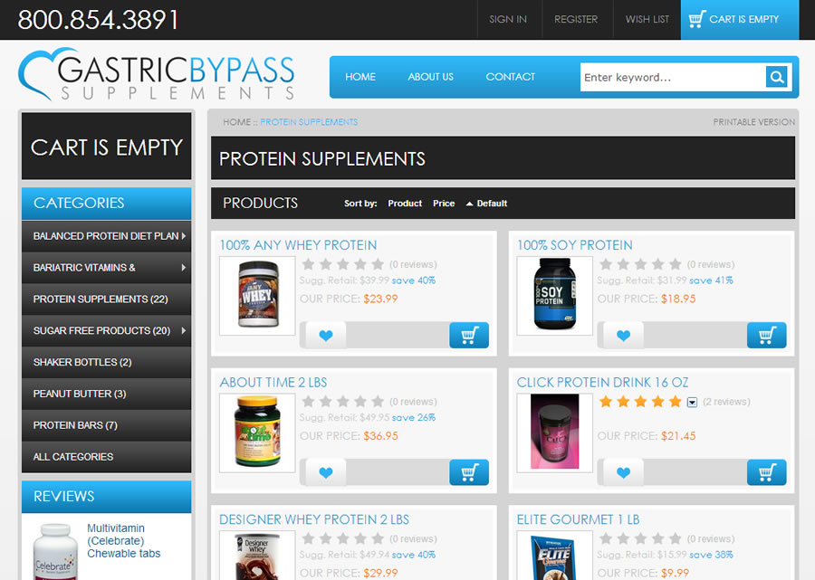 Gastric Bypass Supplements Website Design by Guido Media