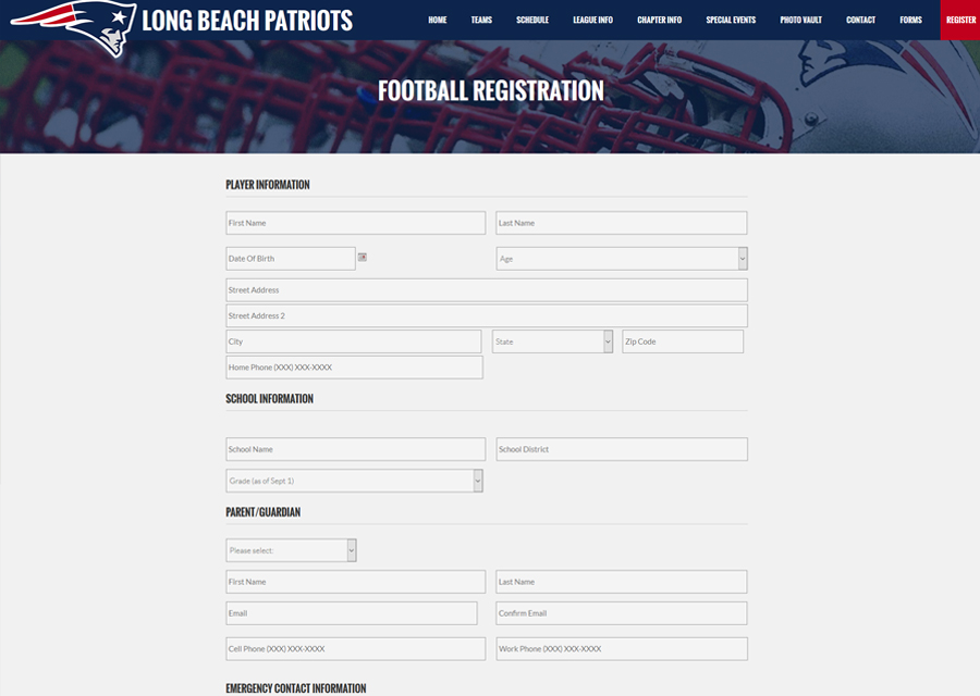 Long Beach Patriots Website Design by Guido Media
