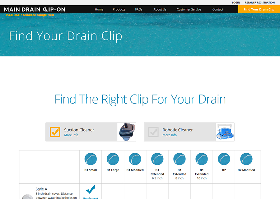Main Drain Clip On Website Design by Guido Media