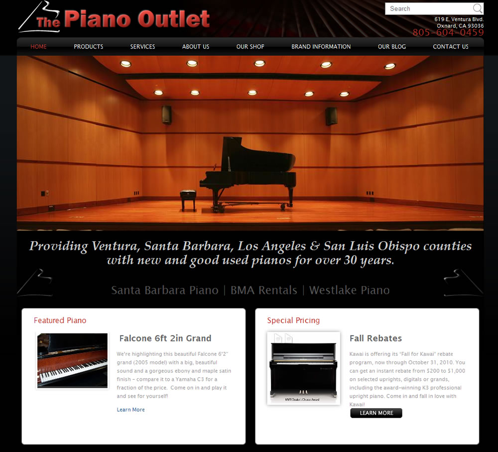 The Piano Outlet Website Design by Guido Media