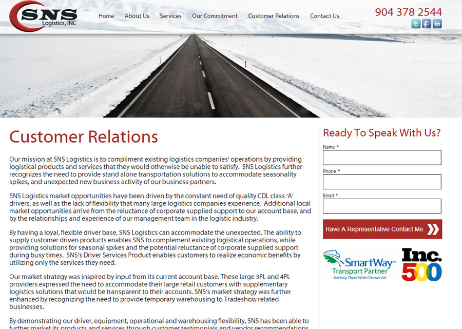 SNS Logistics Website Design by Guido Media